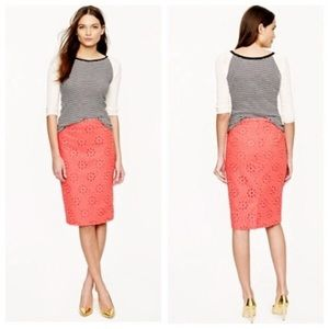 J. Crew Coral Eyelet Lace Pencil Skirt Size 6